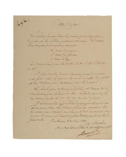 RUSSIE. NAPOLÉON Ier Pièce manuscrite, copie conforme signée «Alexandre» par le major-général...
