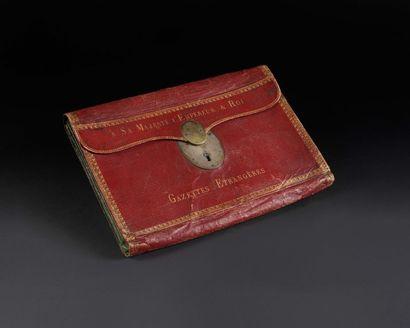 Rare portefeuille à soufflets du cabinet noir de l'Empereur Napoléon Ier «Gazettes...