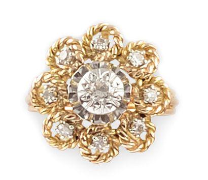 BAGUE en or jaune la monture bombée et ajourée réhaussée de fils d'or torsadés retenant...