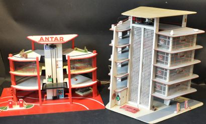 """""""Deux Garages Station Service"""" L'une, Garage Station service Antar, années 60. En..."""