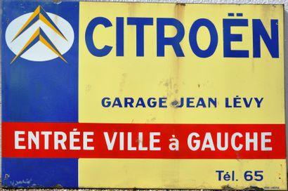 « CITROEN, Garage Jean Lévy »  Plaque émaillée,...