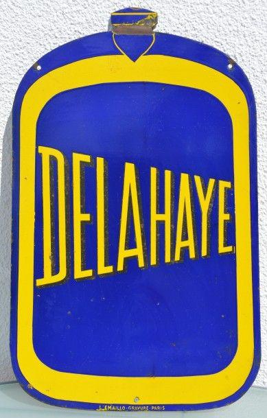 « DELAHAYE »  Plaque émaillée, double face,...