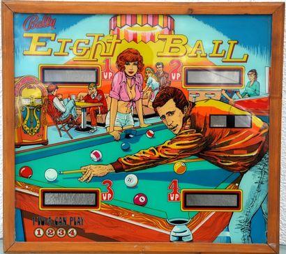 «BALLY – Eight Ball »  Glace originale du flipper « Eight Ball » de marque Bally,...