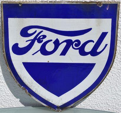 « FORD»  Plaque émaillée double face, promotionnelle...