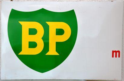 « BP »  Plaque émaillée, promotionnelle, « BP » avec indication de distance avant...
