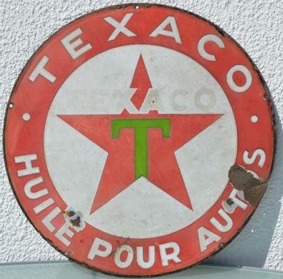 « Texaco »  Plaque émaillée ronde, simple...