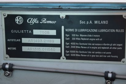 1960 ALFA ROMEOGIULIETTA SPRINT  Châssis n° AR1493.21189  Carte grise de collection...