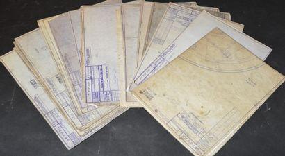""""""" Bleus Bugatti"""" Collection de 27 bleus datés des années 50 et 51, tous relatifs..."""