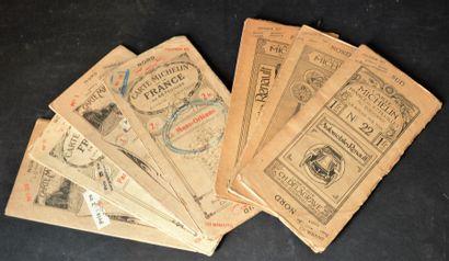 """""""Cartes Michelin """" Un lot de 3 en 47 feuilles (avant 1914) : N° 7, 14 et 22. Un..."""