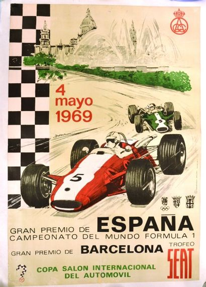 """""""Grand Prix d'Espagne 1969"""" Affiche du Grand Prix d'Espagne pour les championnats..."""