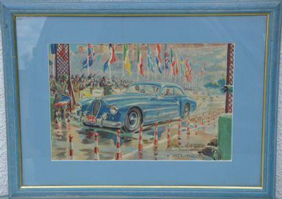 Géo HAM (Georges Hamel) (1900-1972)  « Rallye Monte Carlo 1951, épreuve de démarrage-freinage,...