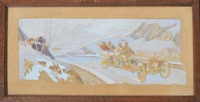 Ernest MONTAUT (1879-1909)  « Le tour de France de la 6 cylindres HOTCHKISS »  Lithographie...