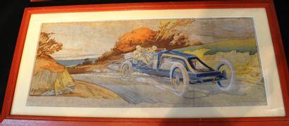 Ernest MONTAUT (1879-1909)  « Szisz sur voiture...