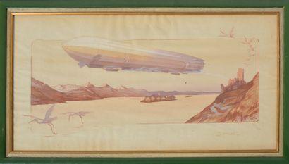Ernest MONTAUT (1879-1909)  « Zeppelin »  Lithographie en couleur, rehaussée à la...