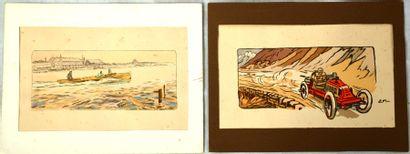 Ernest MONTAUT (1879-1909)  « Deux lithographies d'Ernest Montaut »  L'une représente...