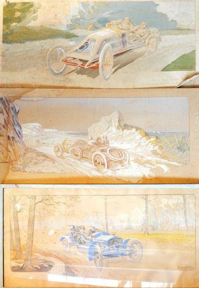 Ernest MONTAUT (1879-1909)  « lot de trois Lithographies en couleurs» L'une, lithographie...