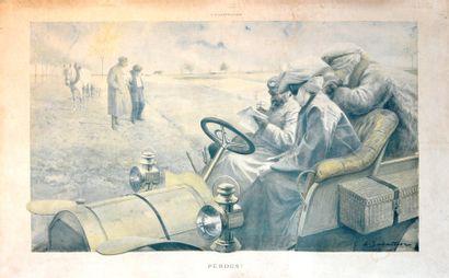 Louis SABATTIER (1863-1935) « Perdus » Estampe...