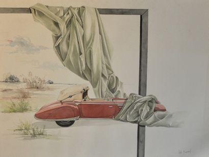 Odile BERNARD « Delahaye 135 » Aquarelle...