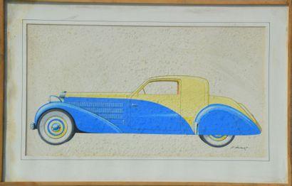 """Pierre DUMONT (1920 – 1987)  """" Coupé Bugatti"""" Aquarelle et gouache, signée en bas..."""