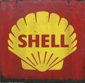 Plaque « Shell », tôle peinte ; 100 x 100...