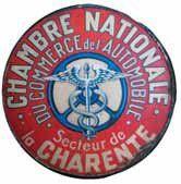 Plaque peinte « Chambre Nationale du commerce de l'automobile, secteur de la Charente...