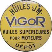 Plaque émaillée « Huiles JM Vigor », émail...