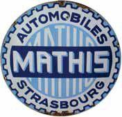 Plaque émaillée « Mathis », Diam 70 cm.