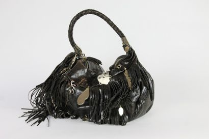 Angelo MARANI Grand SAC cabas en cuir façon reptile marron décoré de franges en cuir...
