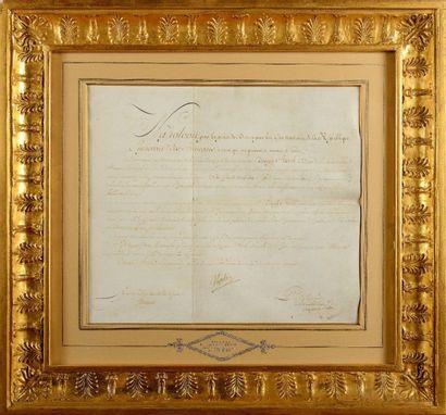 NAPOLÉlON Ier. Pièce signée « Napoleon »,...
