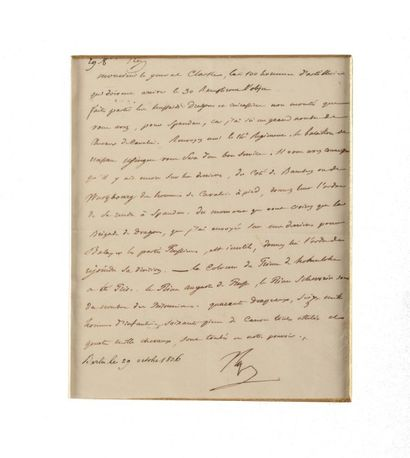 NAPOLEON Ier. Lettre signée « Nap » au ministre...