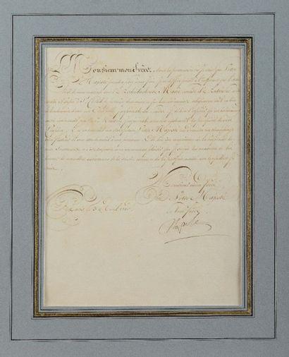 NAPOLÉON Ier. Lettre signée « Napole » à...