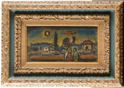 Georges ROUAULT (1871-1958) Crépuscule, vers 1949 Huile sur panneau de bois parqueté...
