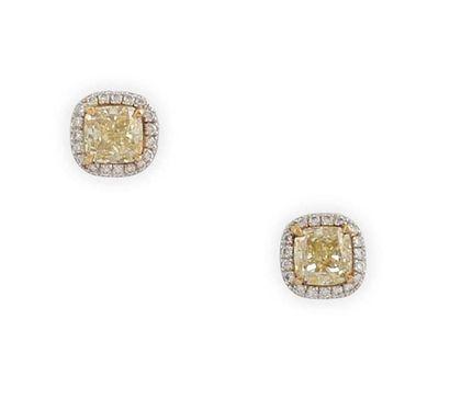PUCES D'OREILLES en or gris, ornées de diamant...