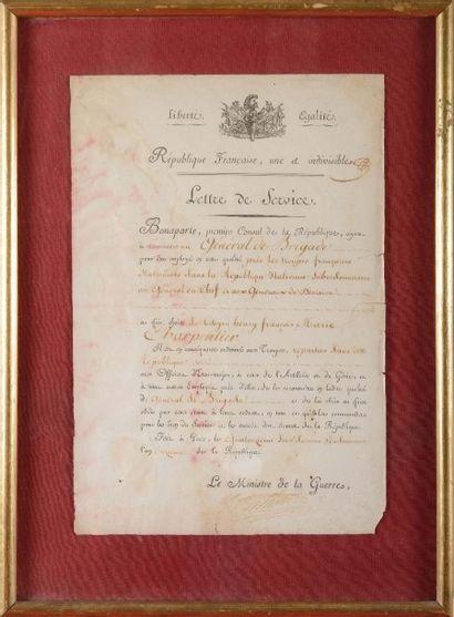 république Française Lettre de service. Nomination...
