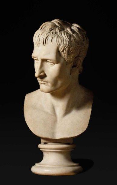 D'après Antonio Canov a, Rare buste en marbre...