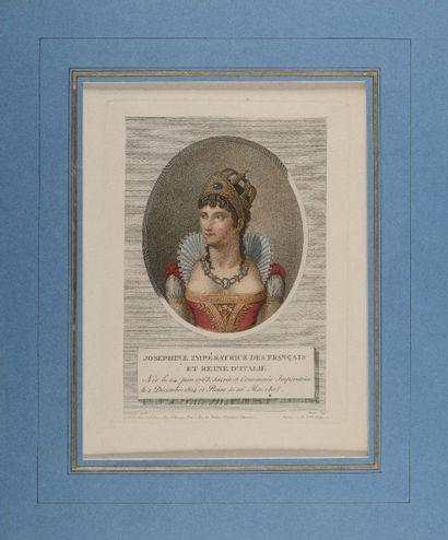 « L'Impératrice Joséphine » Gravure aquarellée...