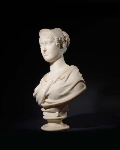 Buste en marbre blanc d'après François-Joseph...