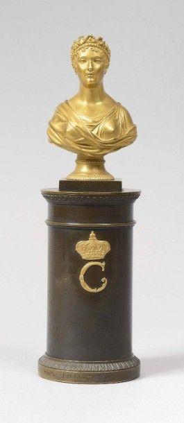 Martin-Guillaume Biennais (1764-1843) Petit buste en bronze doré représentant la...