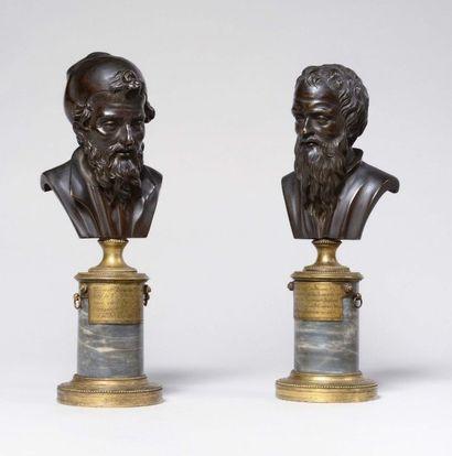 Deux bustes formant pendants Buste d'Hippocrate...