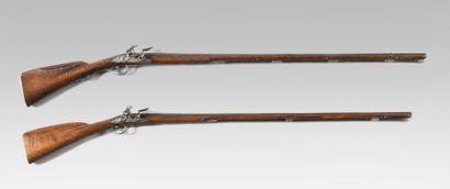Long et beau fusil de chasse à silex Canon...