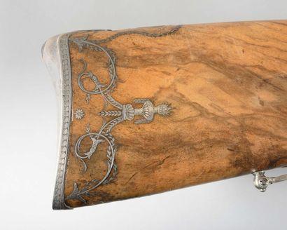très beau fusil de chasse double à silex ayant appartenu à Louis Bonaparte ou à...