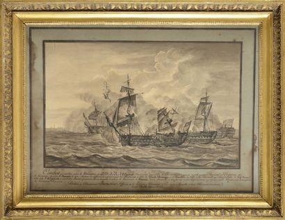 François DEVILLE (XIXe siècle) «Combat entre...