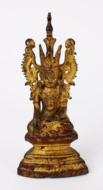 BIRMANIE Statuette de Bouddha en bronze anciennement...