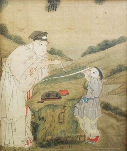 CHINE Deux peintures sur soie traitées en...