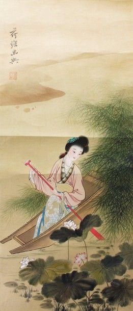 CHINE Rouleau peint sur soie représentant...