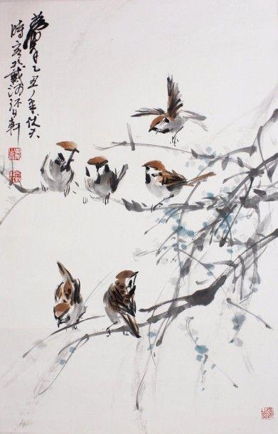 CHINE : Peinture au lavis et couleurs sur...