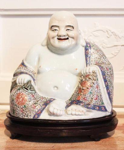 CHINE Grand bouddha assis de dévotion en...