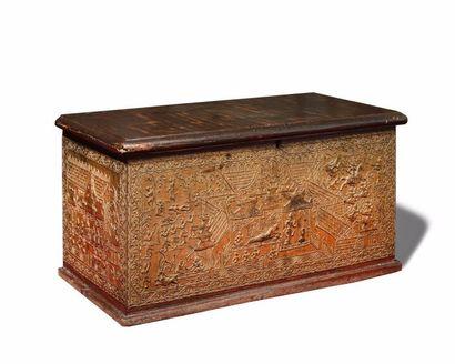 THAILANDE Coffre rectangulaire en bois décoré...