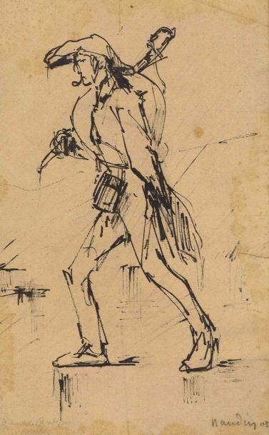 Nicolas Toussaint CHARLET (1792-1845) «Fantassin au repos. Epoque Premier Empire»...