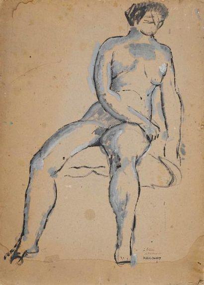 MARCEL DUCHAMP (1887-1968) Nu assis, 1911 Peinture et gouache sur carton gris mince...